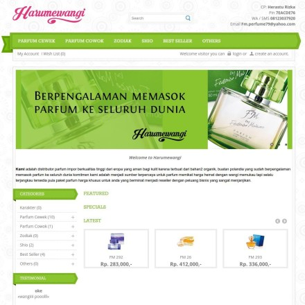 Online Shop – Harumewangi